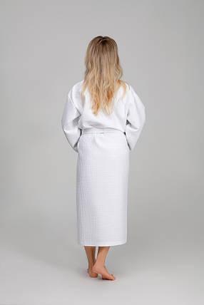 Женский халат XL, вафельный, белый, 100% хлопок, фото 2