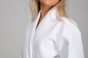 Женский халат XL, вафельный, белый, 100% хлопок, фото 3