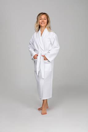 Женский халат, вафельный XXL, белый, 100% хлопок, фото 2