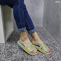 Силиконовые женские шлепанцы цвета хаки, фото 1