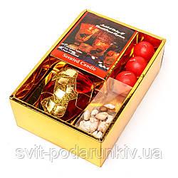 Набор декоративных свечей шаровидных с ракушками в золотистой коробке S2006PB