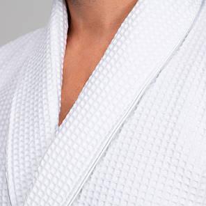 Мужской халат, вафельный XXL, белый, 100% хлопок, фото 2