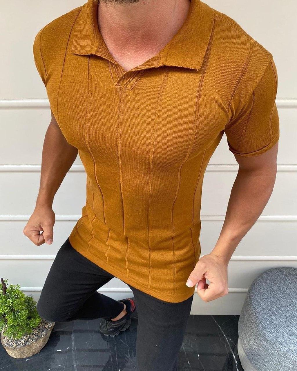 😜 Футболка - Мужская футболка поло горчичная в полоску с воротником
