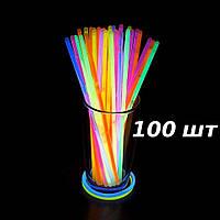 Неоновые светящиеся палочки браслеты SoFun glow stick ассорти 100 штук
