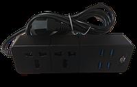 Сетевой фильтр удлинитель на 2 розетки и 4 USB 3.1A Power Socket TB-T07 Черный