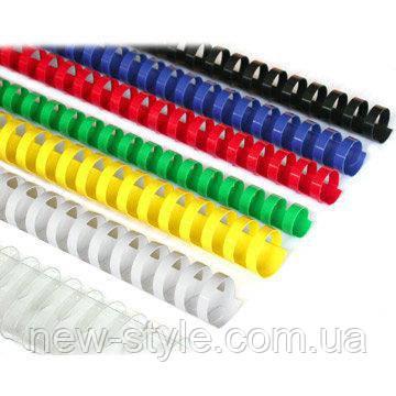 Пружины для переплета пластиковые 10 мм желтые