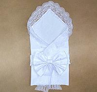 Летний конверт на выписку, кружевной конверт пеленка с бантом, белого цвета 80х85см