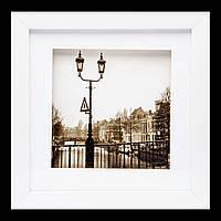 Картина в зал с фотографией в ретро стиле 23*23 B-81-02 (белый)