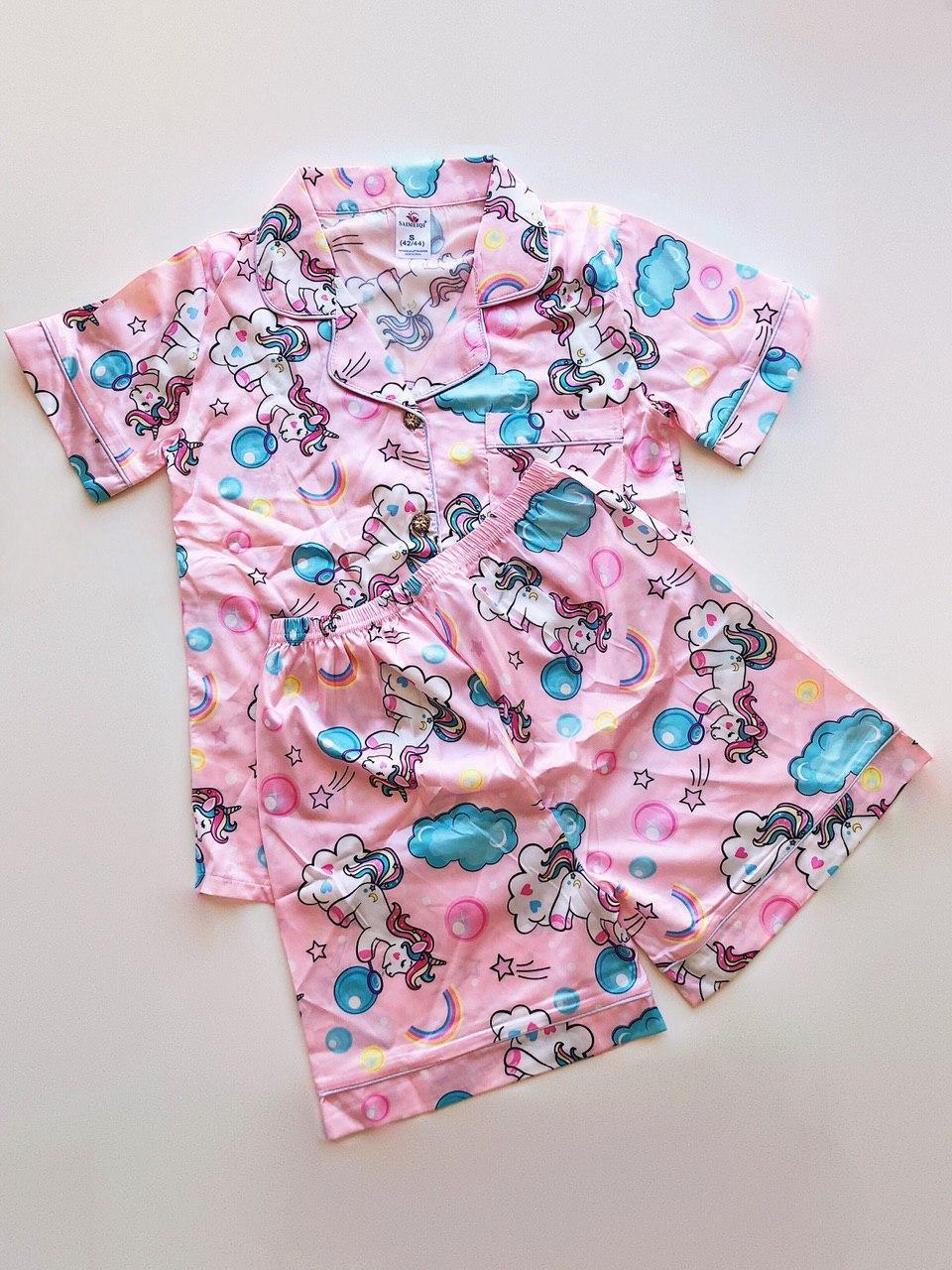 Піжама Атласна Сорочка і шортики Єдиноріг Рожевий колір