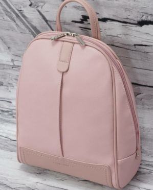 Вместительный женский рюкзак David Jones, пудровый городской / жіночий рюкзак рожевий