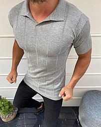 😜 Футболка - Мужская футболка поло светло-серая в полоску с воротником