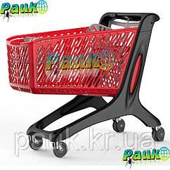 Тележка покупателя 210 л Maxi Basic 1258х595х1060 мм, пластиковая торговая тележка на колесах для покупок