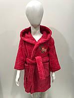 Махровый детский халат 100% хлопок красный 134 см