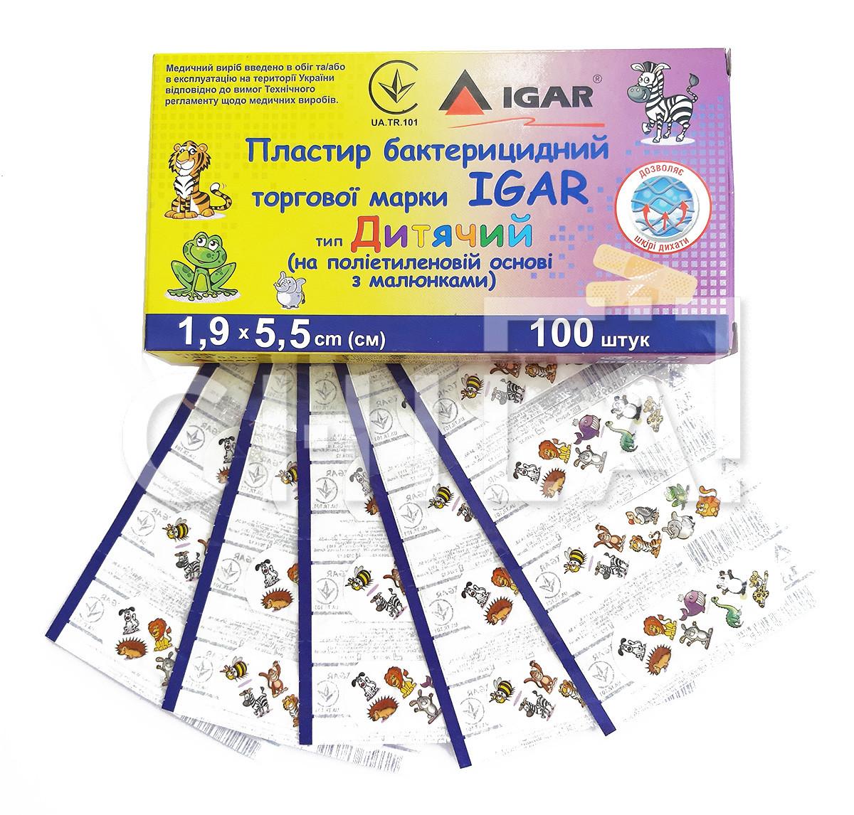 Пластырь бактерицидный IGAR Детский 1,9 х 5,5 см (100 шт/уп)
