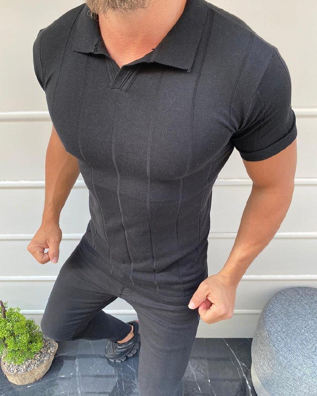 😜 Футболка Чоловіча футболка поло чорна в смужку з коміром