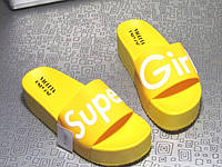 Женские Желтые Пляжные Шлепанцы, Шлепки Super Girl  р.36,37,40, фото 1