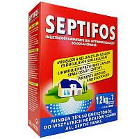 """Біопрепарат """" Septifos vigor 1.2 кг """" на 7 міс. для вигрібних ям, септиків, вул.туал. (Пакет з мірною ложкою в коробці)"""