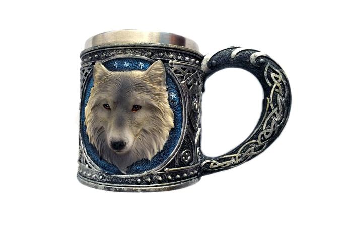 Кружка Чашка Бокал Волк 3D Нержавеющая Сталь