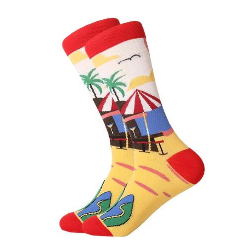 Прикольні чоловічі шкарпетки з принтом Пляжу