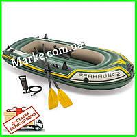 ПЕРЕСЫЛКА 0! Лодка Intex 68347 Seahawk 2 Set двухместная + 2 весла + насос