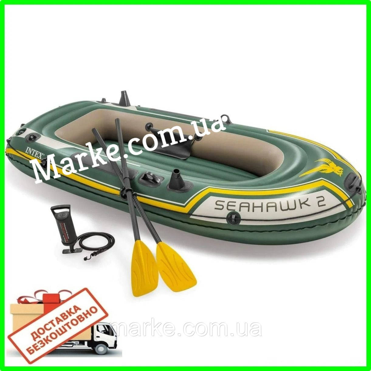 ПЕРЕСЫЛКА 0! Двухместная надувная лодка Intex 68347 Seahawk 2 Set