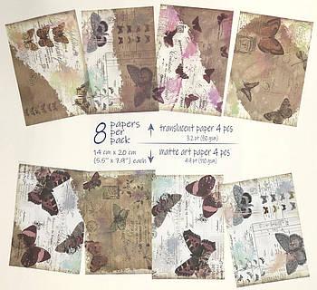 Винтажная бумага для скрапбукинга, кардмейкинга, творчества 8 шт (4 - полупрозрачные, 4 - матовые) 14*20 см #8