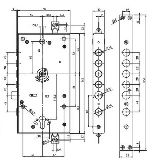 Схема врезного замка Mul-t-lock OMEGA OFMPB30328L фото