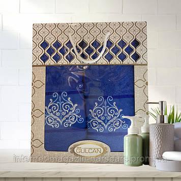 Набор полотенец Gulcan узор 2шт (50 x 90 и 70 x 140 см) баня и лицо Синий