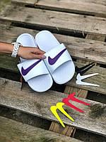 Женские белые Тапки Сланцы Шлепки Nike реплика, фото 1