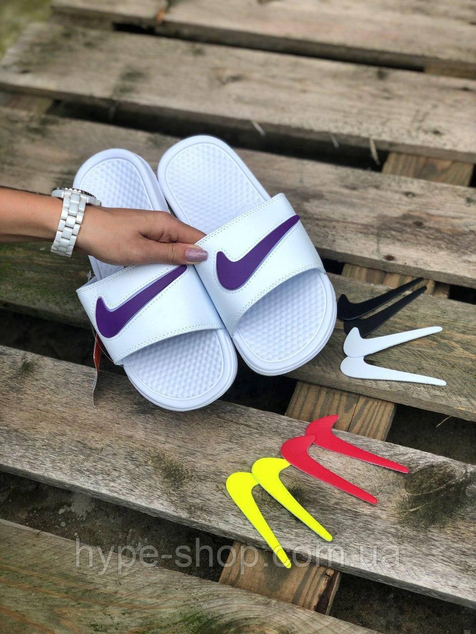 Женские белые Тапки Сланцы Шлепки Nike реплика