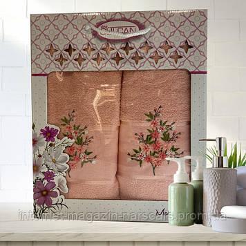 Набор полотенец Gulcan Malina 2шт (50 x 90 и 70 x 140 см) баня и лицо Оранжевый