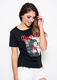 Черная трикотажная футболка с принтом на груди, украшенным кисточками и стразами S, фото 2