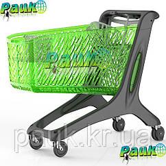 Тележка в магазин 210 л Maxi Eko 1258х595х1060 мм, пластиковая торговая тележка на колесах в магазин