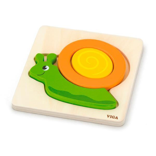 Деревянный мини-пазл Viga Toys Улитка (59931)