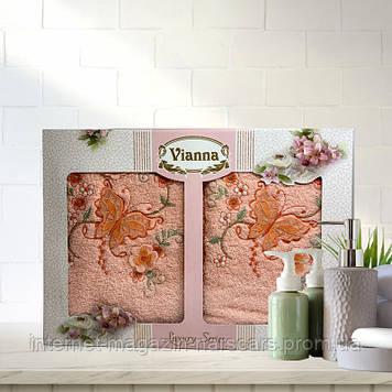 Набор полотенец Vianna Lyxury Series 2 шт размер 30*50 и 50*90 Оранжевый
