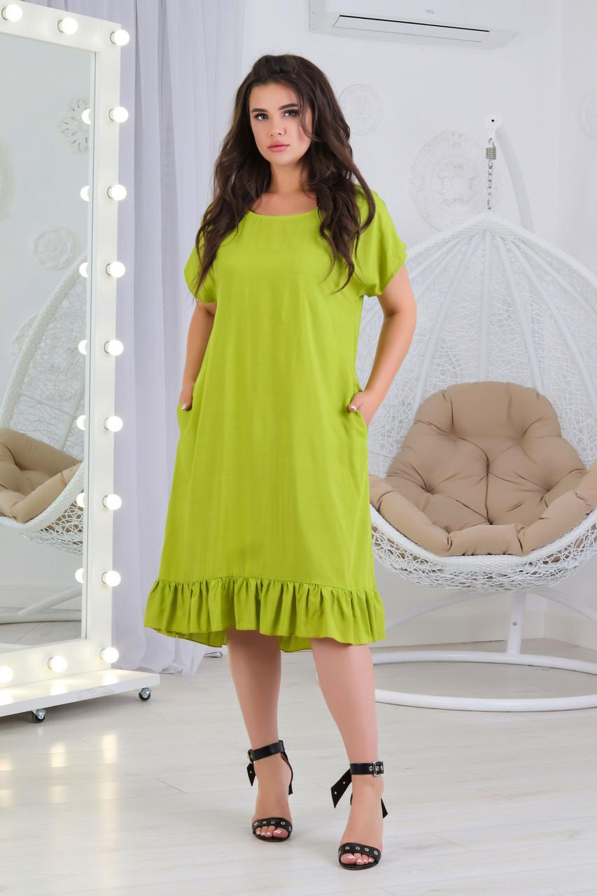 А427 Женское платье с рюшами БАТАЛ  салатовое/ салатовый/ светло-зеленое