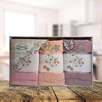 Набор кухонных полотенец Vianna Vintage Tovel 30*50 3шт Бабочка и цветок