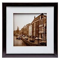 "Картина винтаж 28*28 B-79-05 ""Город на реке"" (черный)"