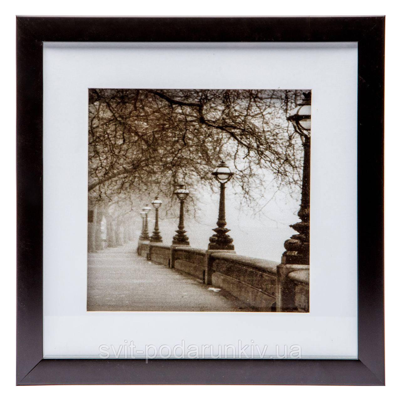 """Картина в ретро-стиле 28*28 B-79-11 """"Мост в тумане"""" (черный)"""