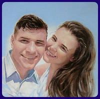 Картина Портрет семьи молодожёнов маслом по фото на заказ Ручная работа Подарок на свадьбу юбилей годовщину
