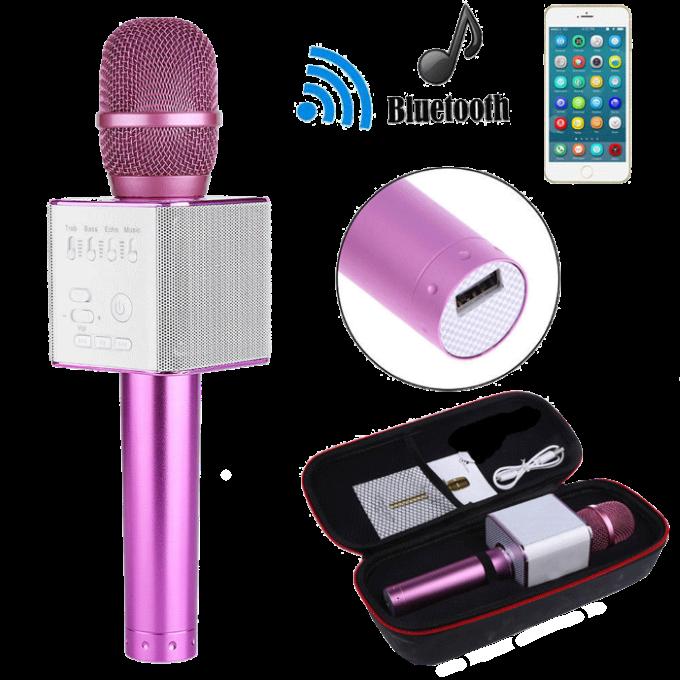 Беспроводной микрофон для караоке Q9 Розовый - портативный караоке-микрофон (b125)