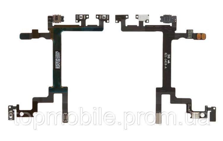 Шлейф iPhone 5, с кнопкой включения, с кнопками регулировки громкости, с микрофоном