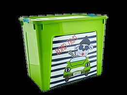 Ящик ластиков для хранения Алеана Smart Box ЗЕЛЕНЫЙ 40л