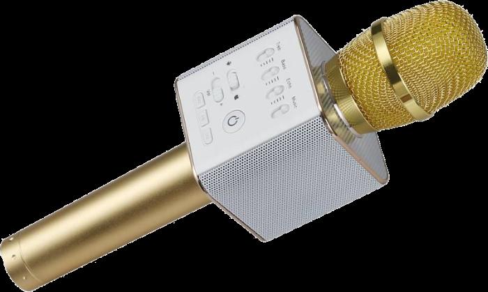 Беспроводной микрофон для караоке Q9 Золотой - портативный караоке-микрофон в Чехле (b154)