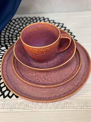 Тарелка керамическая розовая Морганит 21 см, фото 2