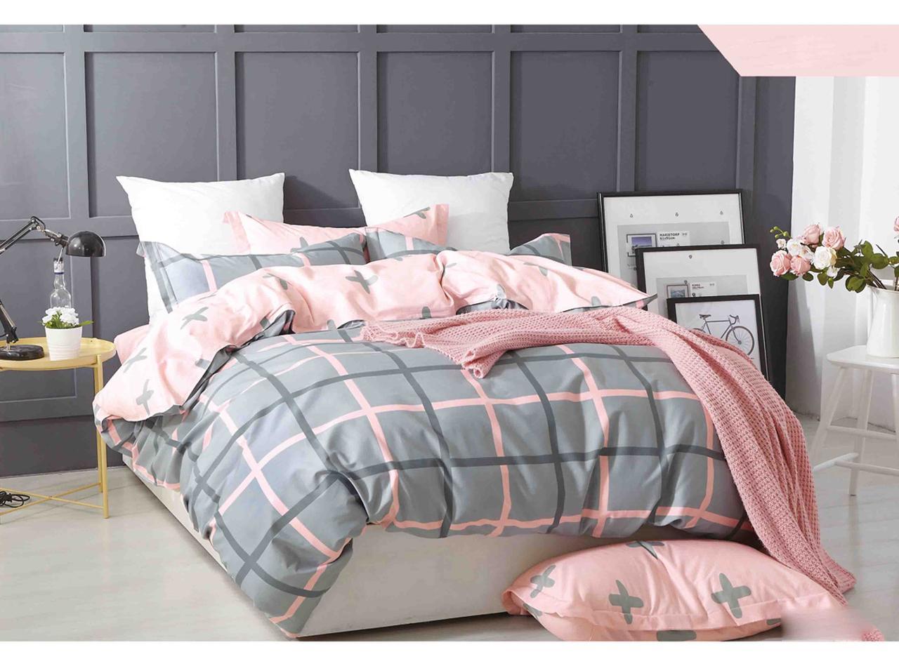 Комплект постельного белья Bella Villa сатин Евро серо-розовая клетка