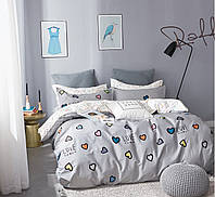 Комплект постельного белья Bella Villa сатин Евро серый с сердцами