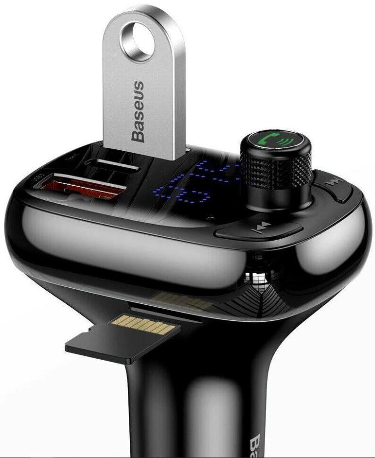 Автомобильное зарядное устройство, FM-трансмиттер Baseus S-13 Bt.5.0 2USB Черный