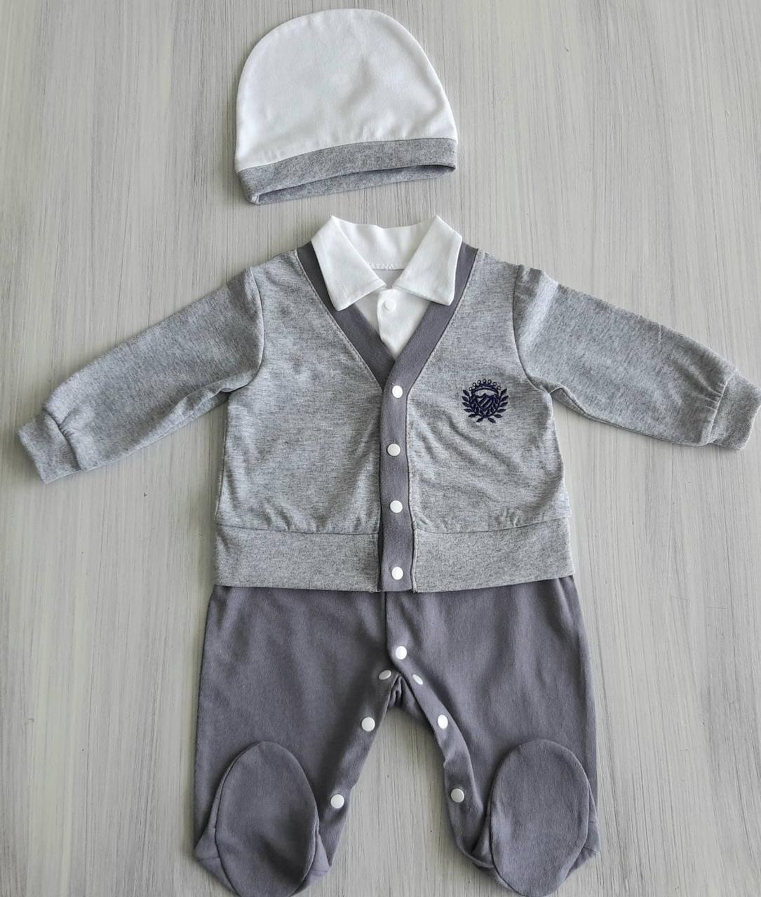 Комбинезон с шапочкой для новорожденного кулир ТМ Happy Tot размер 56, 62