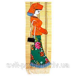 """Деревянное панно с вышивкой 4 """"Милая девушка"""""""